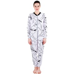 Birds Hand Drawn Outline Black And White Vintage Ink Onepiece Jumpsuit (ladies)  by genx