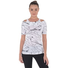 Birds Hand Drawn Outline Black And White Vintage Ink Shoulder Cut Out Short Sleeve Top by genx