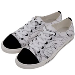 Birds Hand Drawn Outline Black And White Vintage Ink Men s Low Top Canvas Sneakers by genx