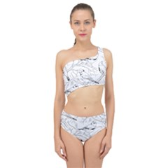 Birds Hand Drawn Outline Black And White Vintage Ink Spliced Up Two Piece Swimsuit by genx