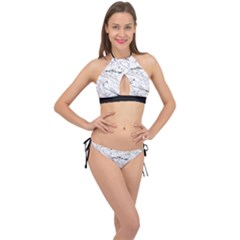 Birds Hand Drawn Outline Black And White Vintage Ink Cross Front Halter Bikini Set by genx