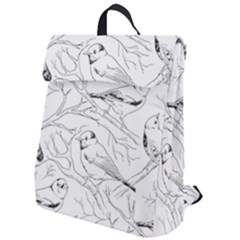Birds Hand Drawn Outline Black And White Vintage Ink Flap Top Backpack by genx