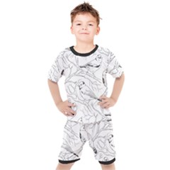 Birds Hand Drawn Outline Black And White Vintage Ink Kids  Tee And Shorts Set by genx
