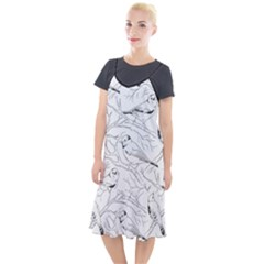 Birds Hand Drawn Outline Black And White Vintage Ink Camis Fishtail Dress by genx
