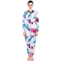 Feathers Boho Style Purple Red And Blue Watercolor Onepiece Jumpsuit (ladies)  by genx