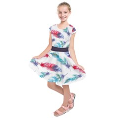 Feathers Boho Style Purple Red And Blue Watercolor Kids  Short Sleeve Dress by genx
