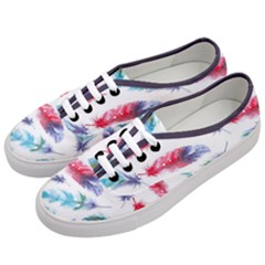 Feathers Boho Style Purple Red And Blue Watercolor Women s Classic Low Top Sneakers by genx