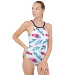 Feathers Boho Style Purple Red And Blue Watercolor High Neck One Piece Swimsuit by genx