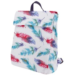 Feathers Boho Style Purple Red And Blue Watercolor Flap Top Backpack by genx