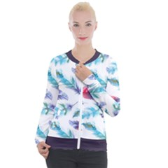 Feathers Boho Style Purple Red And Blue Watercolor Casual Zip Up Jacket by genx