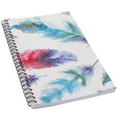 Feathers Boho Style Purple Red And Blue Watercolor 5 5  X 8 5  Notebook by genx