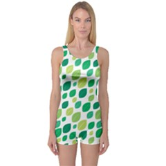Leaves Green Modern Pattern Naive Retro Leaf Organic One Piece Boyleg Swimsuit by genx