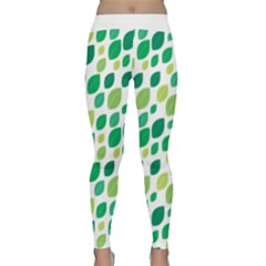 Leaves Green Modern Pattern Naive Retro Leaf Organic Classic Yoga Leggings by genx
