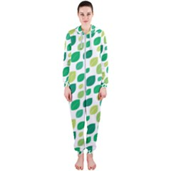 Leaves Green Modern Pattern Naive Retro Leaf Organic Hooded Jumpsuit (ladies)  by genx