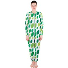 Leaves Green Modern Pattern Naive Retro Leaf Organic Onepiece Jumpsuit (ladies)  by genx