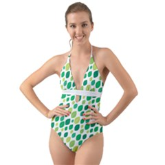 Leaves Green Modern Pattern Naive Retro Leaf Organic Halter Cut Out One Piece Swimsuit by genx