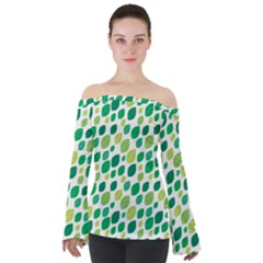 Leaves Green Modern Pattern Naive Retro Leaf Organic Off Shoulder Long Sleeve Top by genx
