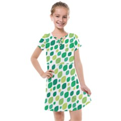 Leaves Green Modern Pattern Naive Retro Leaf Organic Kids  Cross Web Dress by genx