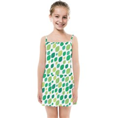 Leaves Green Modern Pattern Naive Retro Leaf Organic Kids  Summer Sun Dress by genx