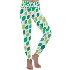 Leaves Green Modern Pattern Naive Retro Leaf Organic Kids  Lightweight Velour Classic Yoga Leggings by genx