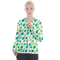 Leaves Green Modern Pattern Naive Retro Leaf Organic Casual Zip Up Jacket by genx
