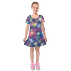 Abstract Background Graphic Space Kids  Short Sleeve Velvet Dress by Bajindul