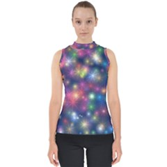 Abstract Background Graphic Space Mock Neck Shell Top