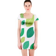 Leaves Green Modern Pattern Naive Retro Leaf Organic Short Sleeve Bodycon Dress by genx