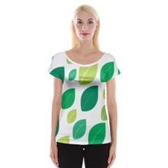 Leaves Green Modern Pattern Naive Retro Leaf Organic Cap Sleeve Top by genx