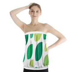 Leaves Green Modern Pattern Naive Retro Leaf Organic Strapless Top by genx