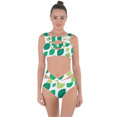 Leaves Green Modern Pattern Naive Retro Leaf Organic Bandaged Up Bikini Set  by genx