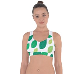 Leaves Green Modern Pattern Naive Retro Leaf Organic Cross String Back Sports Bra by genx