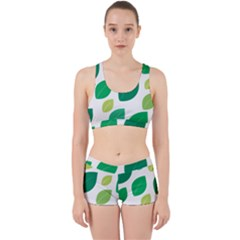 Leaves Green Modern Pattern Naive Retro Leaf Organic Work It Out Gym Set by genx