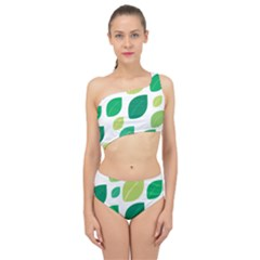 Leaves Green Modern Pattern Naive Retro Leaf Organic Spliced Up Two Piece Swimsuit by genx