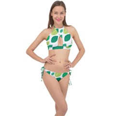 Leaves Green Modern Pattern Naive Retro Leaf Organic Cross Front Halter Bikini Set by genx