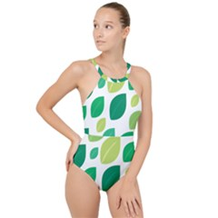 Leaves Green Modern Pattern Naive Retro Leaf Organic High Neck One Piece Swimsuit by genx