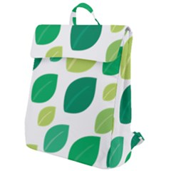 Leaves Green Modern Pattern Naive Retro Leaf Organic Flap Top Backpack by genx