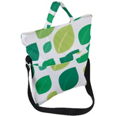 Leaves Green Modern Pattern Naive Retro Leaf Organic Fold Over Handle Tote Bag by genx