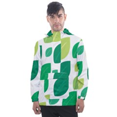 Leaves Green Modern Pattern Naive Retro Leaf Organic Men s Front Pocket Pullover Windbreaker