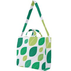 Leaves Green Modern Pattern Naive Retro Leaf Organic Square Shoulder Tote Bag by genx