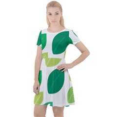 Leaves Green Modern Pattern Naive Retro Leaf Organic Cap Sleeve Velour Dress  by genx