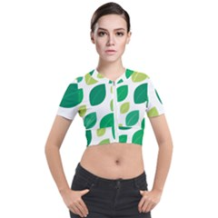 Leaves Green Modern Pattern Naive Retro Leaf Organic Short Sleeve Cropped Jacket by genx