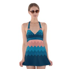 Flat Beach Palette Halter Dress Swimsuit  by goljakoff