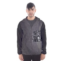 Odin On His Throne With Ravens Wolf On Black Stone Texture Men s Hooded Windbreaker by snek