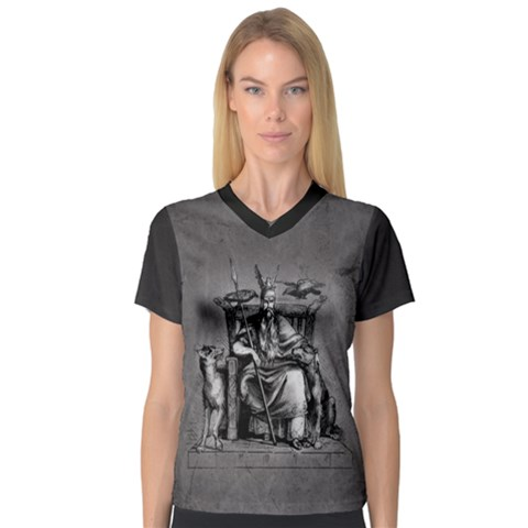 Odin On His Throne With Ravens Wolf On Black Stone Texture V-neck Sport Mesh Tee by snek