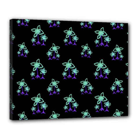 Dark Floral Drawing Print Pattern Canvas 20  X 16  (stretched)
