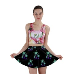 Dark Floral Drawing Print Pattern Mini Skirt by dflcprintsclothing