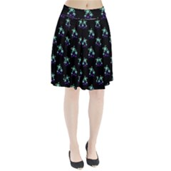 Dark Floral Drawing Print Pattern Pleated Skirt