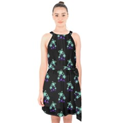 Dark Floral Drawing Print Pattern Halter Collar Waist Tie Chiffon Dress