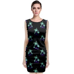 Dark Floral Drawing Print Pattern Sleeveless Velvet Midi Dress by dflcprintsclothing